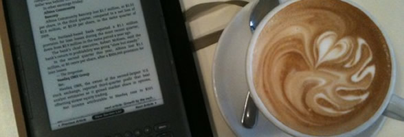 The Kindle's size is perfect... and so is downloading new books at a cafe...