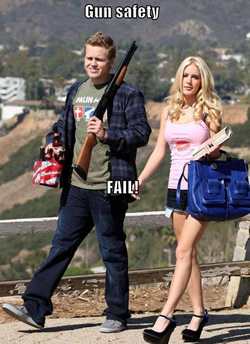 Man carrying a gun and beer while with his Barbie girlfriend